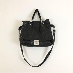 Tory Burch Black Leather Dayton Messenger Bag Black